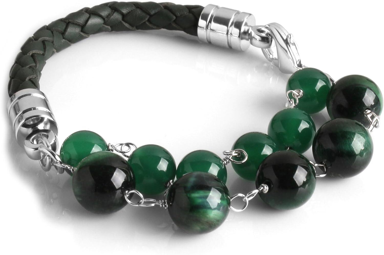 Cloisonnekorea Bombing Max 46% OFF new work Bracelets Leather Tiger Custom- Agate Eye 1.5Line