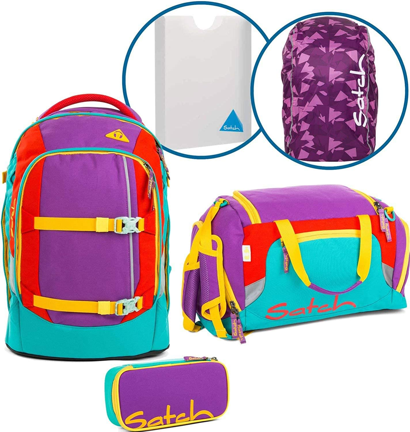Satch Schulrucksack-Set 5-TLG Pack Flash Runner lila