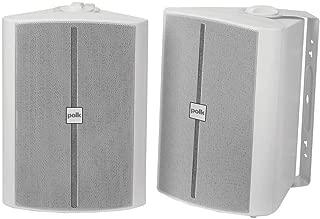 Polk Audio OS70 2-Way Indoor/Outdoor Speakers (Pair, White) - Waterproof | Powerful Bass | Easy to Install | Rust-Proof Grille
