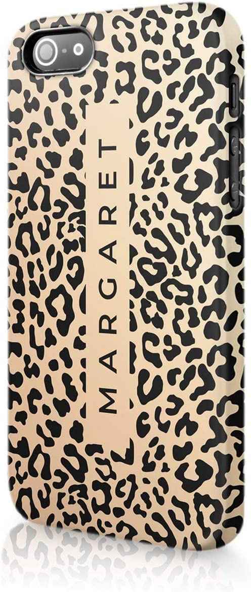 NOT REAL GLITTER Animal Print Gold Leopard Snake Skin Black Banner Red Leopard Tirita Personalised Initials Custom Hard Phone Case Compatible with iPhone 12 /& 12 Pro PRINTED GLITTER