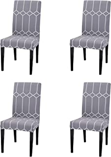 Argstar 4 Pack Chair Slipcovers for Dining Room Spandex Protector Covers for Kitchen Gray Patterned X_11