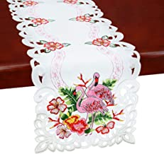 Simhomsen Embroidered Flamingo, Tropical Palm Leaves and Hibiscus Flower Table Runners for Hawaiian Luau Party, Paradise or Jungle Beach Themed Party or Baby Shower Decorations (13 × 68 Inch)