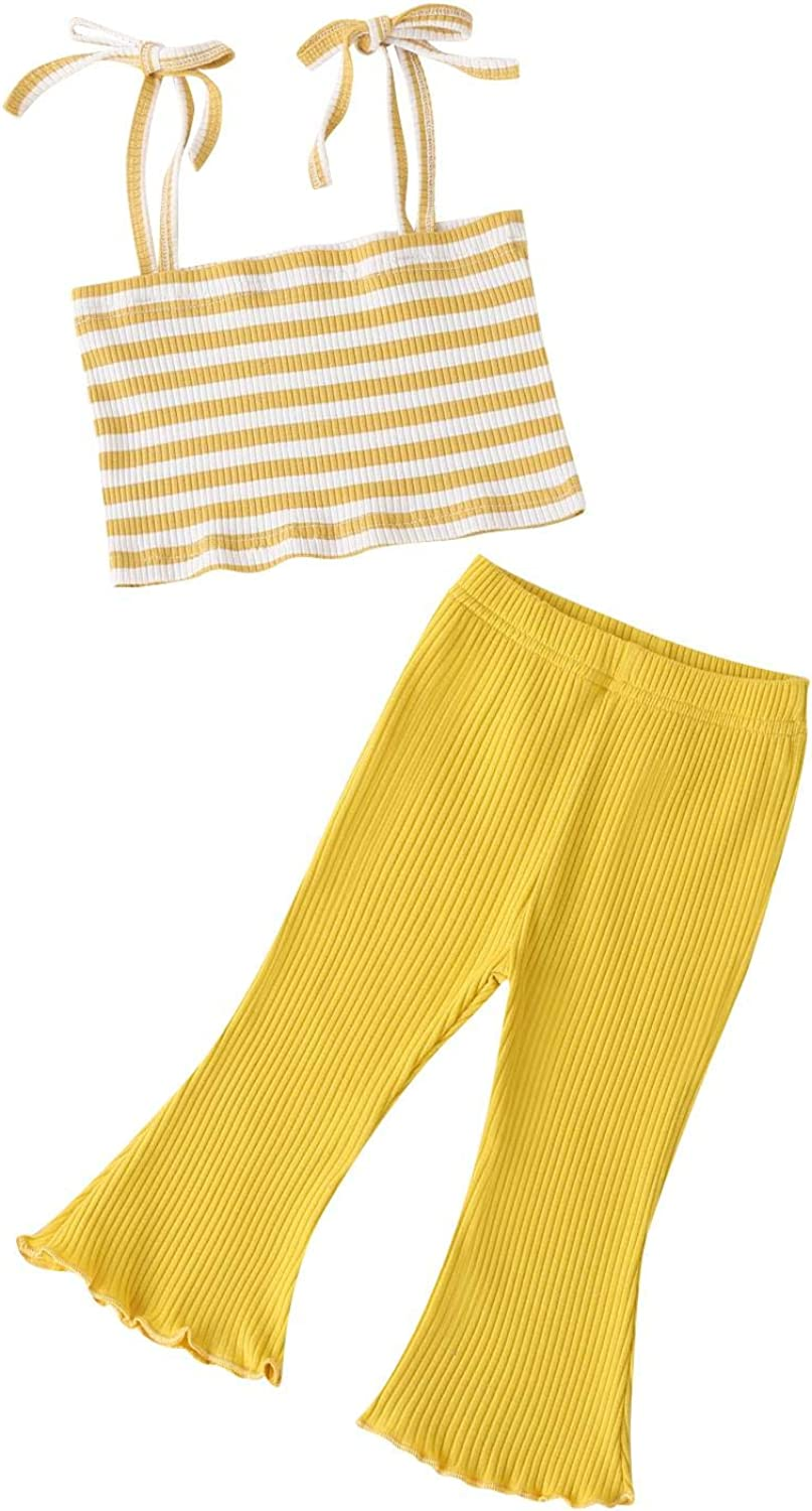 Max 41% OFF Infant Toddler Baby Girls Outfits Striped Halter Crop Cheap mail order specialty store Rib T Knit
