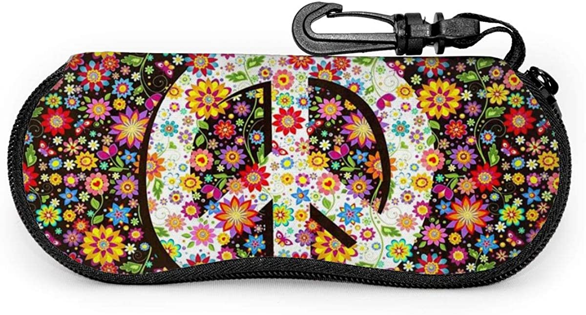 Hippie Floral Peace Symbol With Various Flowers Sunglasses Soft Case Ultra Light Neoprene Zipper Eyeglass Case With Key Chain