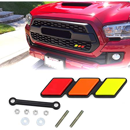 Haitzu TRD Grille Emblem Badge Fit for Toyota 4Runner Tacoma Tundra, Decoration Accessories for Truck Sequoia Rav4 Highlander Yellow/Orange/RED