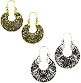 Kaizer Jewelry Special Tribal Collection of Oxidized Silver (Gold) Hanging Earrings for Women Girls (Gift) DS-40