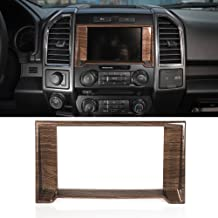 Wood Grain Interior Dashboard Navigation GPS Cover Decorative Trim ABS for Ford F-150 F150 2015 2016 2017