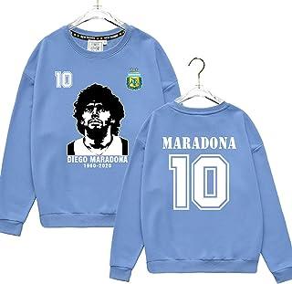 رداء Diego Maradona Argentina Naples Football Fan Wear Round Neck Guard للملابس للرجال والنساء بأكمام طويلة ، أزرق رقيق ، M