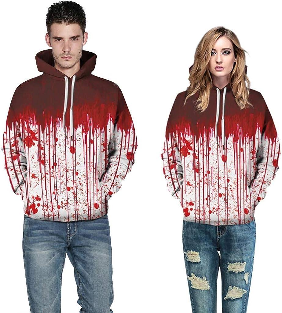VEZAD Men Women Halloween Letter Print Hoodie Casual Hooded Loose Graphic Pullover Sweatshirt
