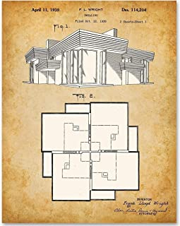 Frank Lloyd Wright Home Blueprint - 11x14 Unframed Patent Print - Makes a Great Gift Under $15 for Architects