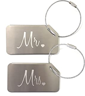 Mr and Mrs Honeymoon Wedding Bridal Shower Gift Luggage Tag Travel Tags Silver (2 Pack)