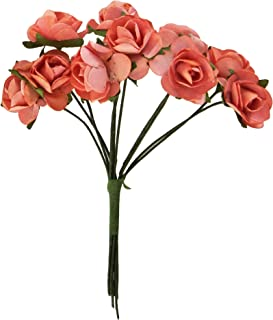 Kaisercraft F667 0.5-Inch Mini Paper Flowers Bloom with Wire Stems, Coral, 10-Pack