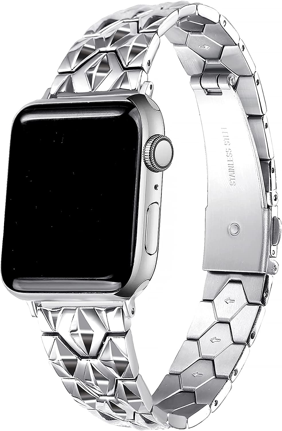 Secbolt Bands Compatible with Apple Watch Band 38mm 40mm 41mm iWatch SE Series 7/6/5/4/3/2/1, Diamond Cut Stainless Steel Women Dressy Wristband