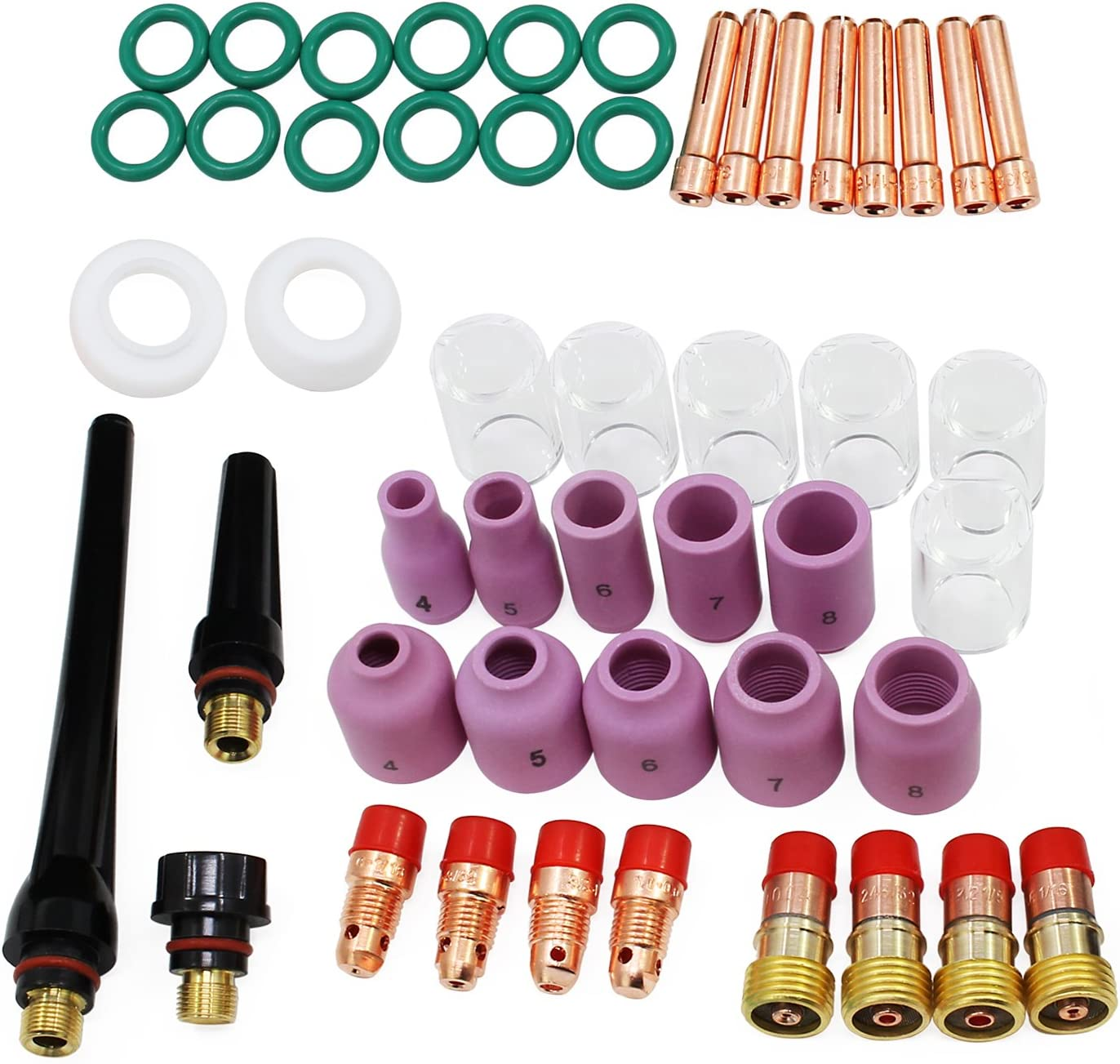 HSeaMall 49 PCS TIG Soldadura Suministros de soldadura Vástago Junta Tapa trasera a prueba de agua Pyrex Gas Glass Lenses Alum Alum Kit de accesorios para WP-17/18/26