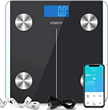 Etekcity Digital Body Weight Scale, Smart Bluetooth Rechargeable Body Fat Analyzer Tracks 2 Key Compositions, 400 lbs, Black, 1 Count