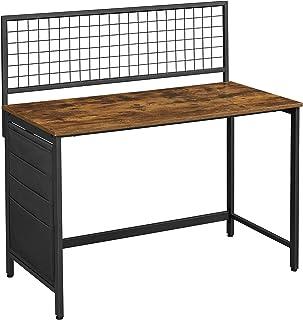 VASAGLE Bureau avec Panneau grillagé, Table d'Ordinateur, Table Informatique, avec Pochettes de Rangement en Tissu, pour P...
