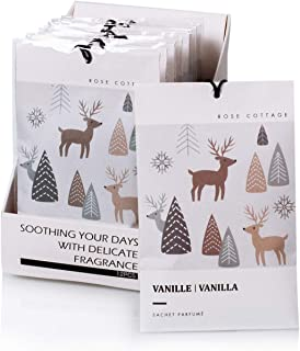12Packs Vanilla Closet Air Freshener Deodorizer Scented Sachets Bags for Drawer and Closet 16 Scents Optional-ROSE COTTAGE