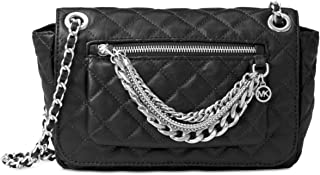 d1935da4dd197d MICHAEL Michael Kors Womens Cheyenne Leather Quilted Satchel Handbag Black  Small