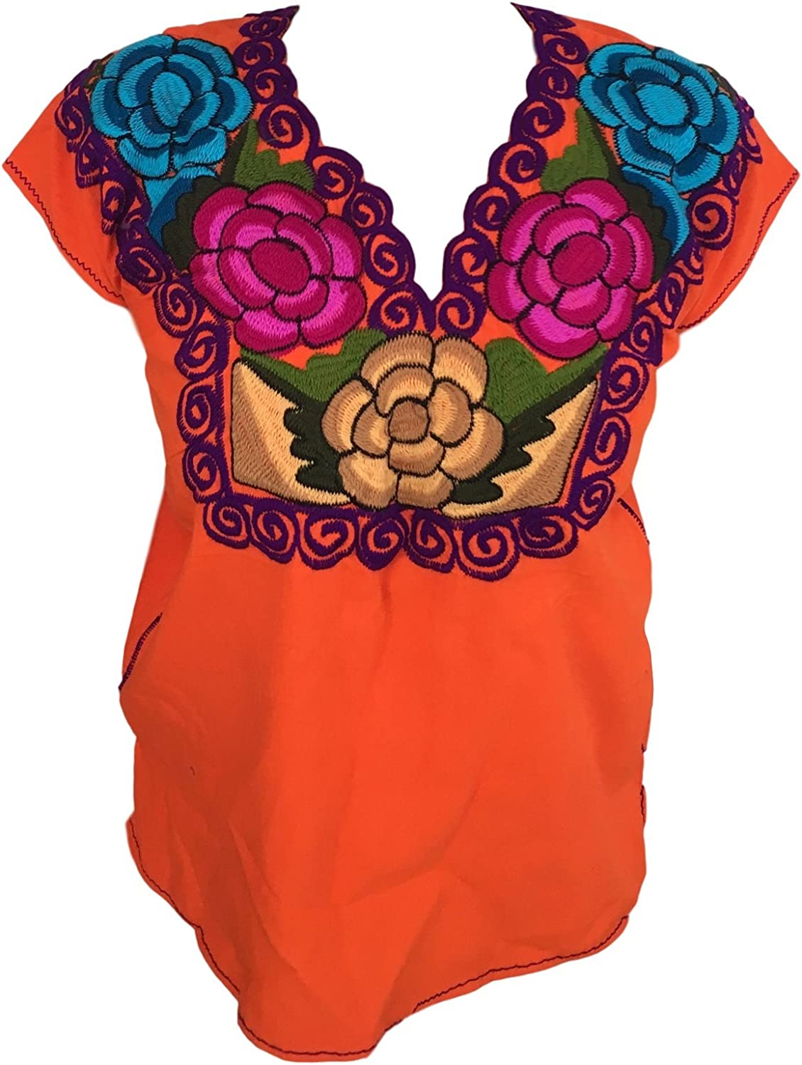 Casa Fiesta Designs Floral Mexican Blouse  Embroidered  Authentic  Handmade  Cotton  Red