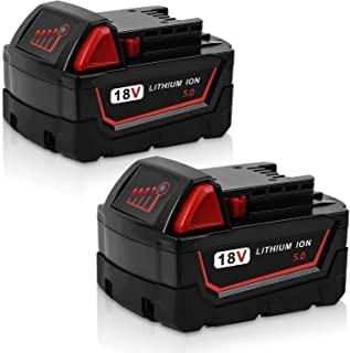 Jialitt 2Pack 18V 5.0Ah Replacement Battery For Milwaukee M18 Lithium-ion Battery M18B 48-11-1820 48-11-1850 48-11-1828 4...