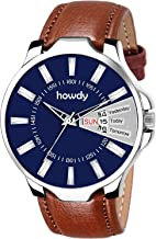 howdy Blue Dial Day & Date Display Brown Leather Strap Analogue Wrist Watch for Men & Boys C-576