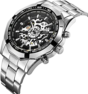 Affute Mens Automatic Mechanical Skeleton Dail Analog Wrist Watches Stainless Steel Bracelet