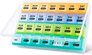 DANYING Monthly Pill Organizer, 4 Weeks Pill Box, Daily Medicine Organizer, 28 Days Pill Container, Weekly Vitamin Case