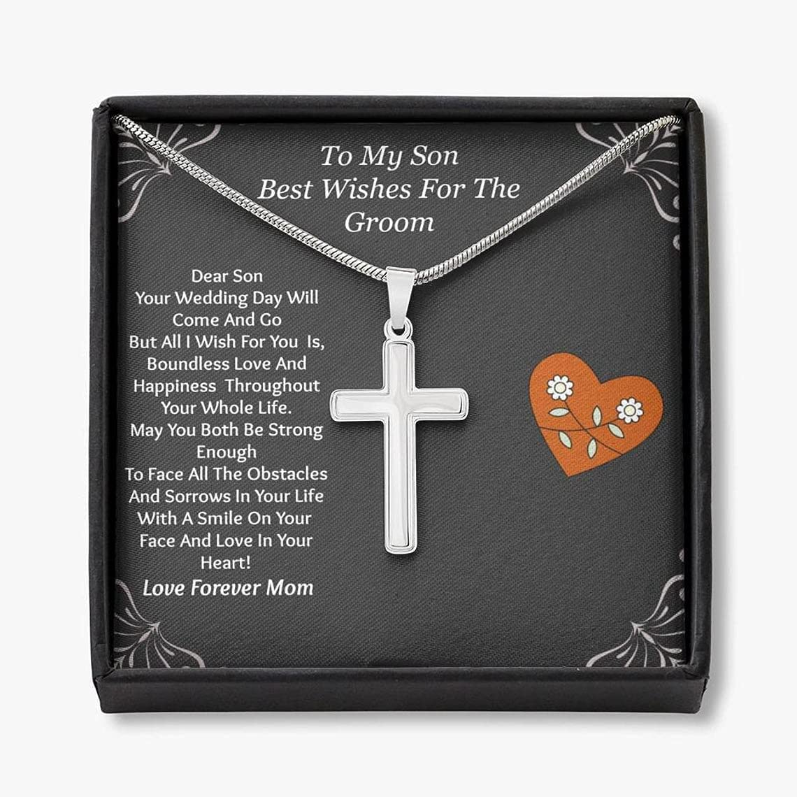 To My Son on His Wedding Day, Mother to Son Wedding Gift, Engraved Necklace for Son from Mother, Wedding Gift for Son, on Wedding Day