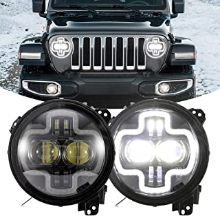 BUNKER INDUST Jeep JL LED Headlights, 2 Pcs 9 Inch Round Headlamp Halo DRL for Jeep Wrangler JL 2018 2019 High Low Beam Headlight with Daytime Running Light DRL