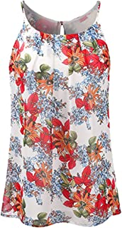 AOJIAN Women's T Shirt Sleeveless Shirts Print Key Hole Blouse Tunic Vest Tank Tops