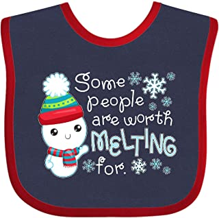 Inktastic Some People are Worth Melting for- Cute Snowman Baby Bib Navy and Red