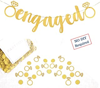 Engagement Party Decorations - Extra-Large Engaged Banner + 200 Glittering Gold Ring Confetti - Bridal Shower Sign & Bachelorette Party Favors - Bride to be Engagement Banner Decor