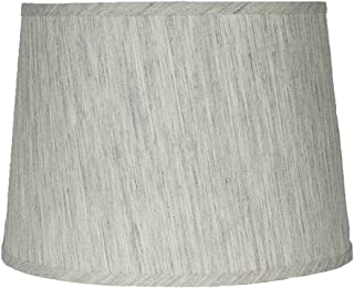 Urbanest French Drum Lampshade,Textured Flax Linen, 12-inch, Spider, Gray Tone, Set of 1