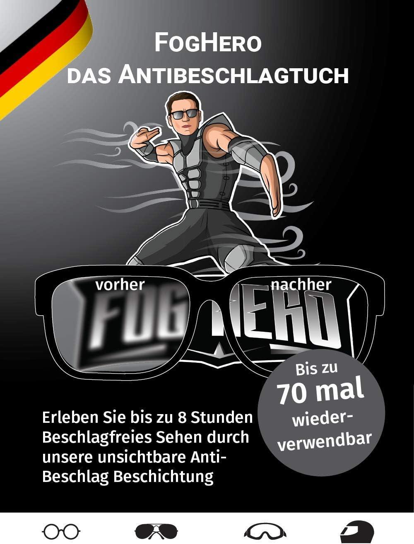 Foghero Das Antibeschlagtuch Für Brillen Visiere Uvm Antibeschlag Brillenputztuch Microfaser 1x Tuch Kein Antibeschlagspray Drogerie Körperpflege
