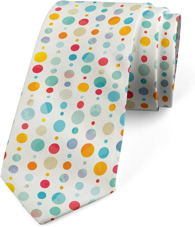 Ambesonne Men's Tie, Colorful Large Dots, Necktie, 3.7