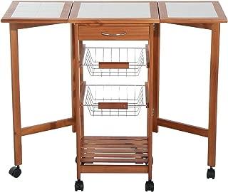 HOMCOM Mesa Auxiliar Cocina 91x37x75 cm Plegable 6 Ruedas 1