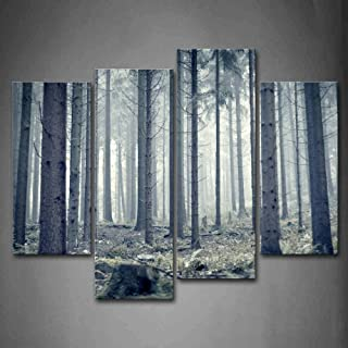 First Wall Art - Forest Straight Trees Grass On Land Wall Art Decor Nature Landscape Canvas Pictures Artwork 4 Panel Paint...