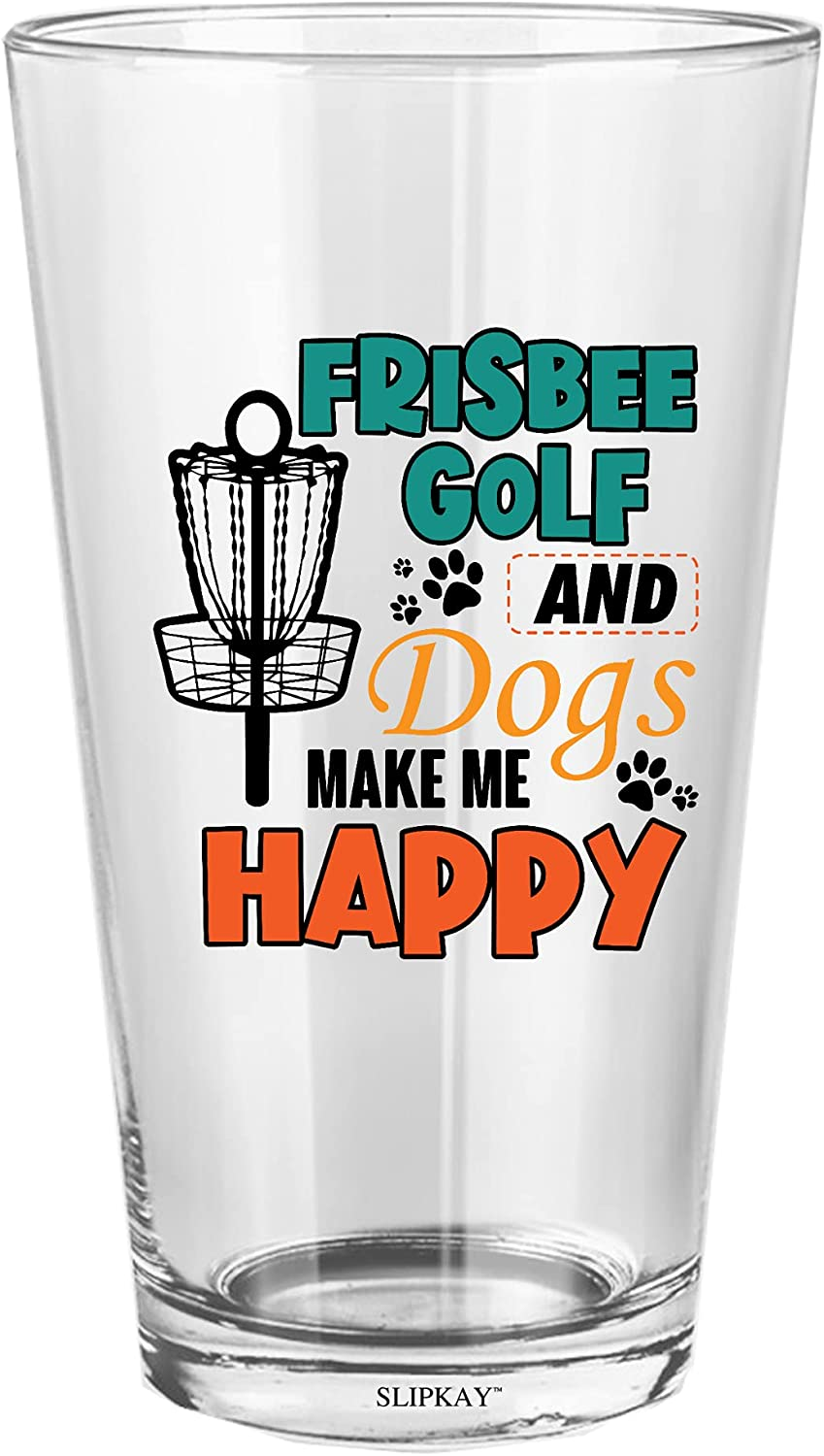 Frisbee Golf overseas And Dogs Be super welcome Make Me Glass Pint 16 Happy Oz