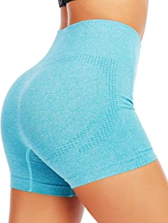 AHLW High Waist Seamless Gym Shorts for Women Compression Workout Yoga Shorts Tummy Control Exercise Shorts
