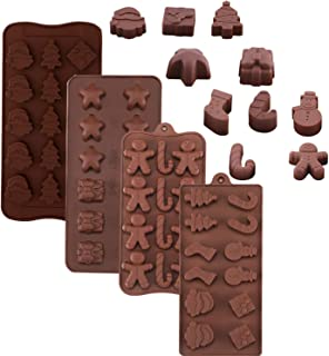 4 Pack Christmas Silicone Molds, Christmas Chocolate Candy Trays Baking Jelly Molds for Party Cake Decoration with Various Christmas Themed Shapes
