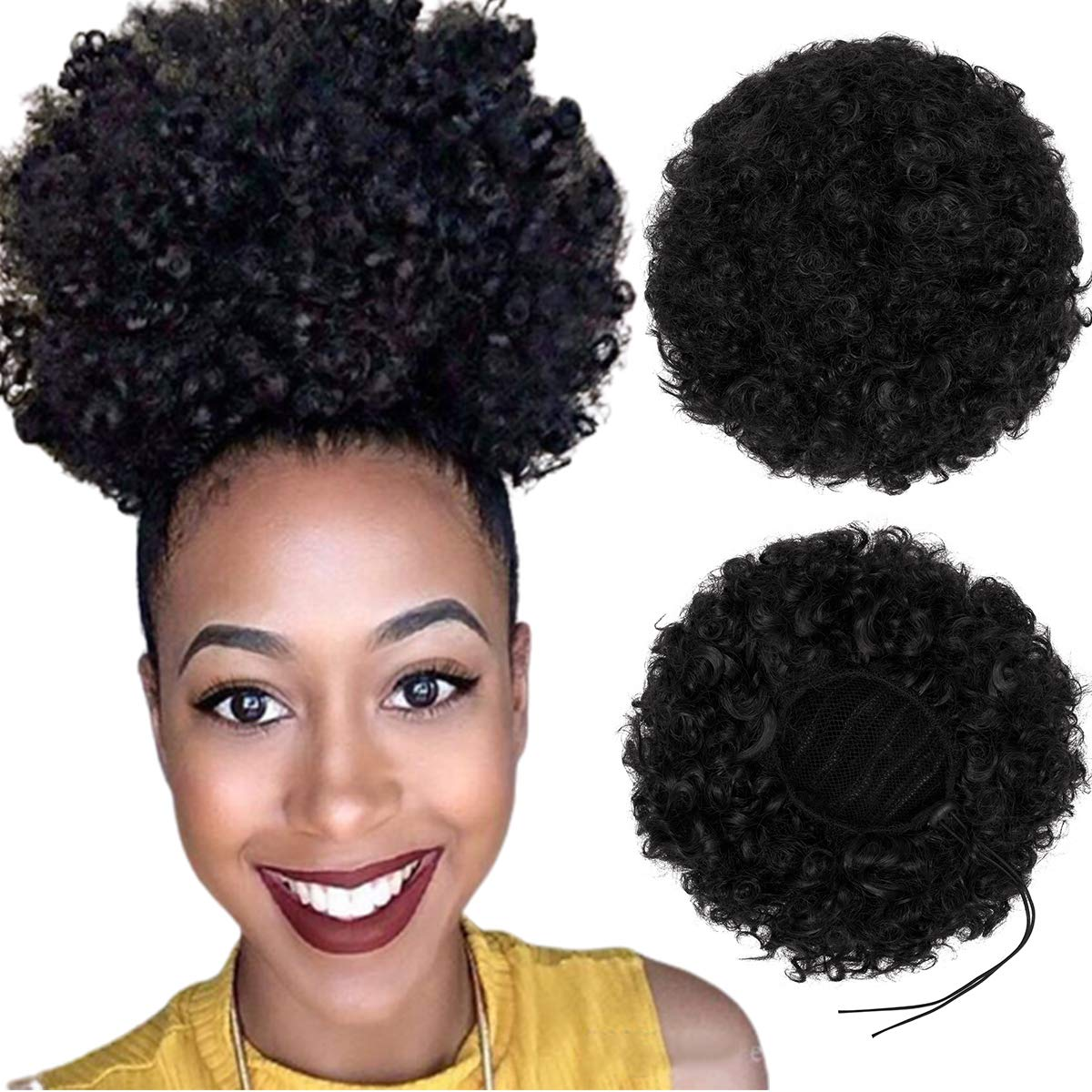 Max 44% OFF Synthetic Afro Puff Drawstring Ponytail Kinky Charlotte Mall Short Curly Hair B