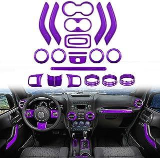 NO7RUBAN Full Set Interior Decoration Trim Kit for Jeep Wrangler JK JKU 2011-2018 2&4-Door Steering Wheel &Center Console Air Outlet Trim, Door Handle Cover Inner (21pcs Purple)