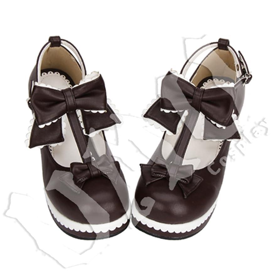 ジャニスどっちでもくしゃみ【UMU】 LOLITA ロリータ リボン 姫 お嬢 ブラウン 風 靴 ブーツ ブーティ オーダーメイド(ヒール高、材質、靴色は変更可能!) (足26cm)