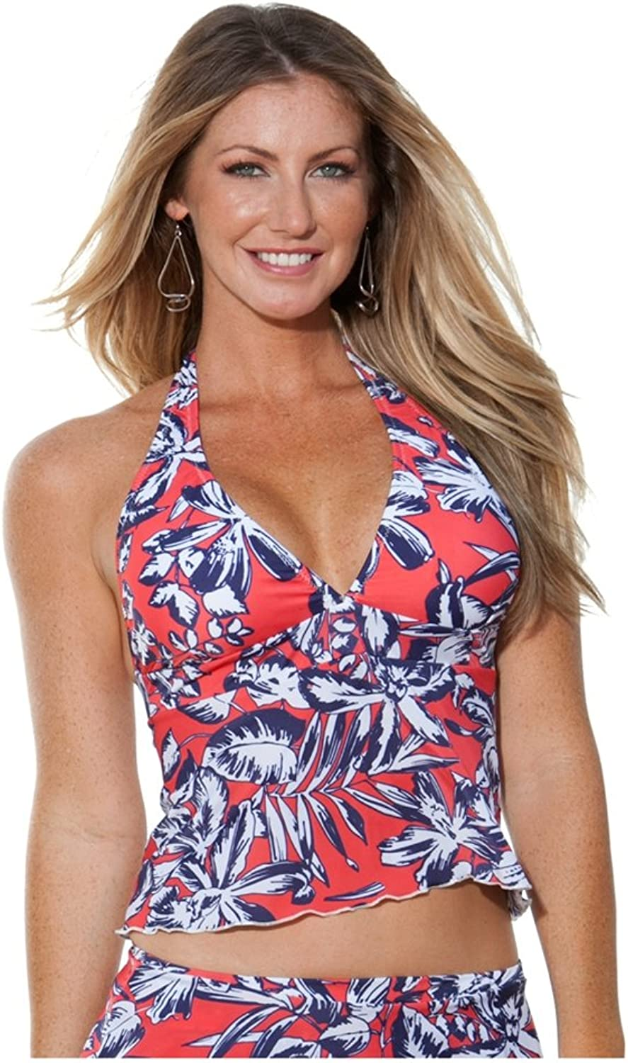bluee Sky Swimwear Tropical Isle Halter Baby Doll Top (Top Only) Size  XL