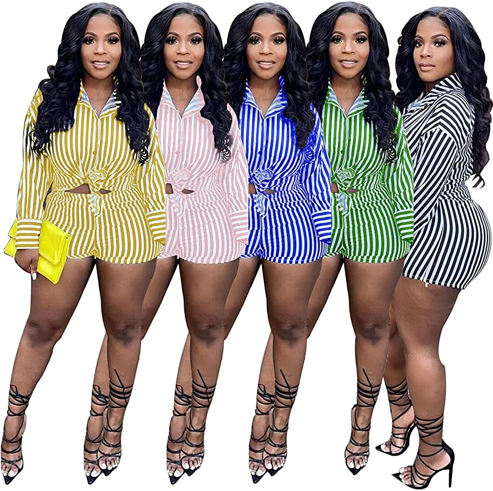 Remelon Womens Casual 2 Piece Shirt Suits Tracksuit Stripe Long Sleeve Shirt Bodycon Mini Shorts Sets Party Clubwear