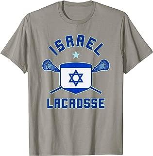 ISRAEL Lacrosse T-Shirt   Israeli Flag Lax Sticks Tee