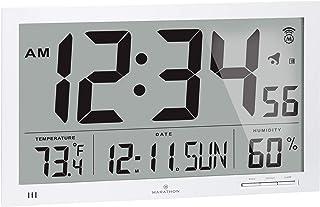 ساعت دیواری اتمی ماراتون باریک با صفحه نمایش جامبو ، تقویم ، دمای داخلی