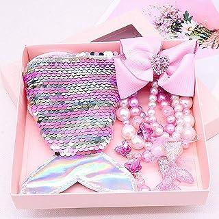 Bijoux Enfants Fille Set, Comius Sharp Sirène Cadeau Filles Sacs à Main, Collier, Bracelet, Boucle d'oreille, Bagues, Pinc...