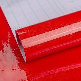 TOTIO Papel de contacto con purpurina roja vinilo autoadhesivo para muebles para puertas de armarios de cocina despegar y...