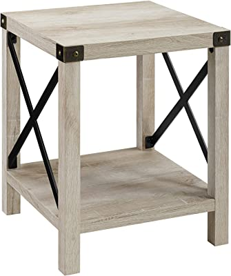 WE Furniture Rustic Wood Rectangle Coffee Accent Table Storage Baskets Living Room, 40 Inch & Rustic Modern Farmhouse Metal and Wood Square Side Accent Living Room Small End Table, 18 Inch, White Oak